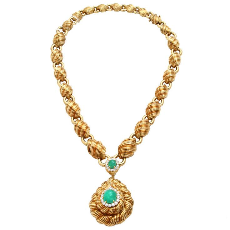 DAVID WEBB Yellow Gold Chain with  Pendant Emerald and Diamond   From a unique collection of vintage drop necklaces at https://www.1stdibs.com/jewelry/necklaces/drop-necklaces/