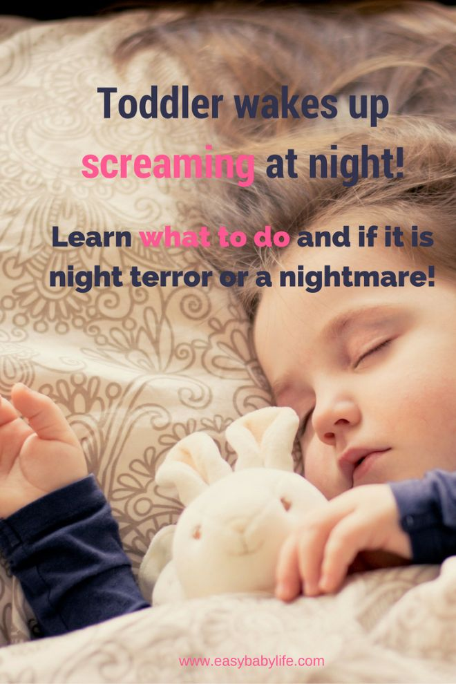 When a toddler wakes up every night screaming as loud as she can, it can be quite frightening. Why is this happening? Is it night terror? Nightmares?  What can I do to stop it? Learn how here!