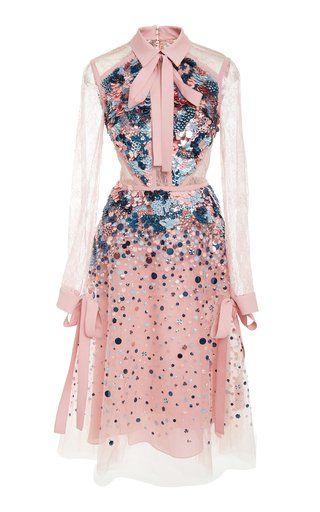 Lace Sleeve Dress by Elie Saab