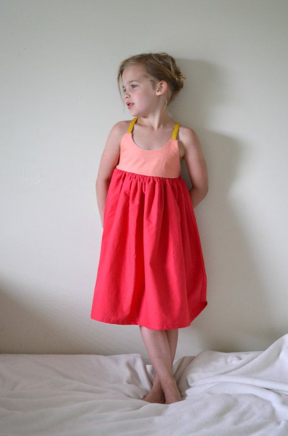 Adult size please?  Coral  Watermelon ColorBlocked Girl's Sundress by HungieGungie