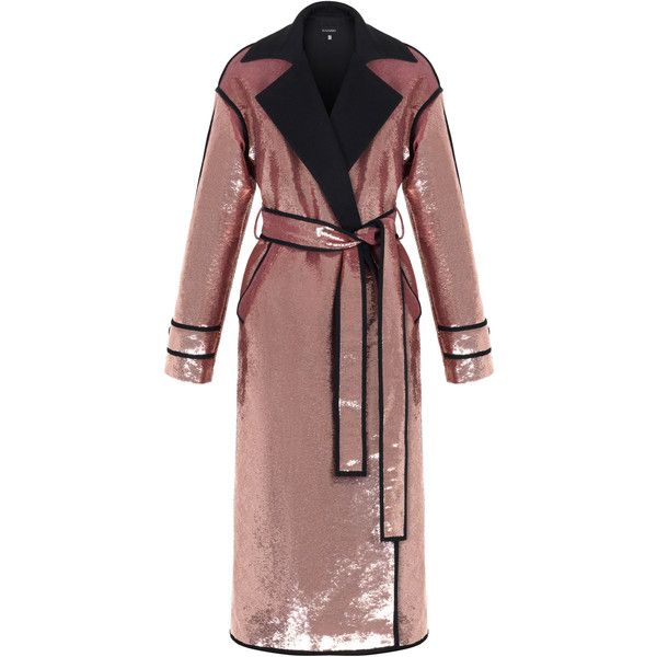 Pink Sequin Coat | Moda Operandi ($3,550) ❤ liked on Polyvore featuring outerwear, coats, brown coat, pink coats and sequin coat