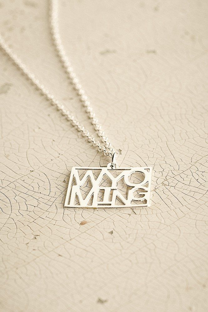 Wyoming State Necklace by Kris Nations in Silver