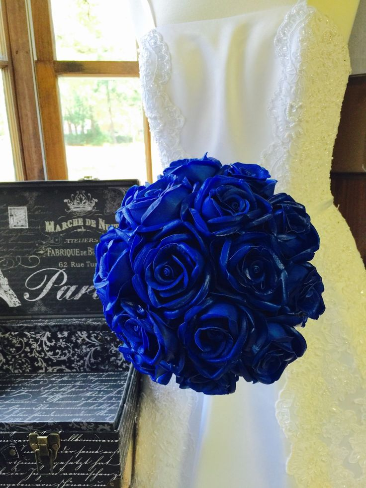 Sale - This listing is for 1 12in Round Wedding Bouquet with Artificial Real Touch Royal Blue Roses wrapped in your choice of satin ribbon color. Please specify Ribbon Color from Picture 5 in Notes wh