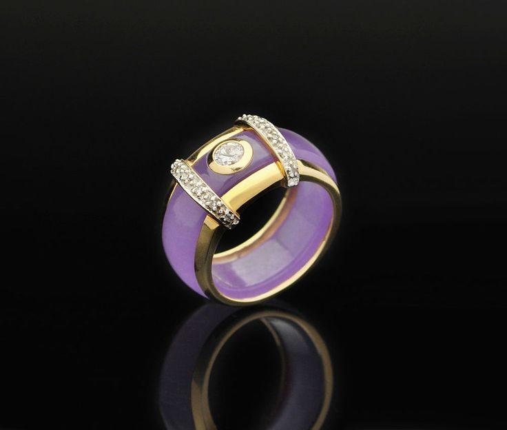 14k Diamond Lavender Jade Ring - size 6