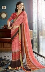 Pink Color Georgette Kitty Party Sarees : Nevangi Collection YF-64084