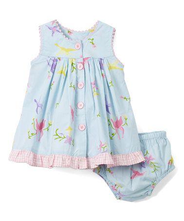 Blue Bird & Flower Empire Waist Dress & Diaper Cover - Infant