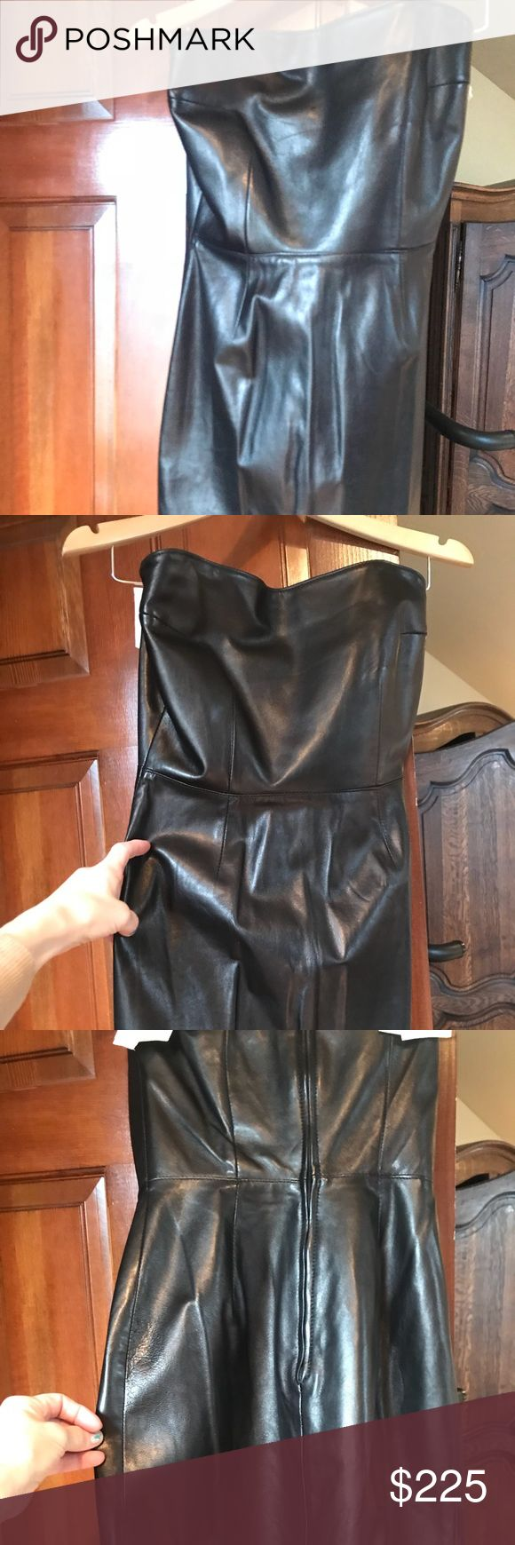 Vintage Strapless Leather Mini Dress Michael Hoban Bought at North beach Leather in Houston. Vintage and in perfect condition. Lined. Real leather. Mini skirt. Bodycon. Size 4, but fits more like a 2. I'm a natural size 4 and it doesn't fit me anymore. It fit me when I was a size 2. Non smoking home.  Last picture is a Michael Hoban leather dress much like mine, except mine is shorter. Micheal Hoban Dresses Strapless