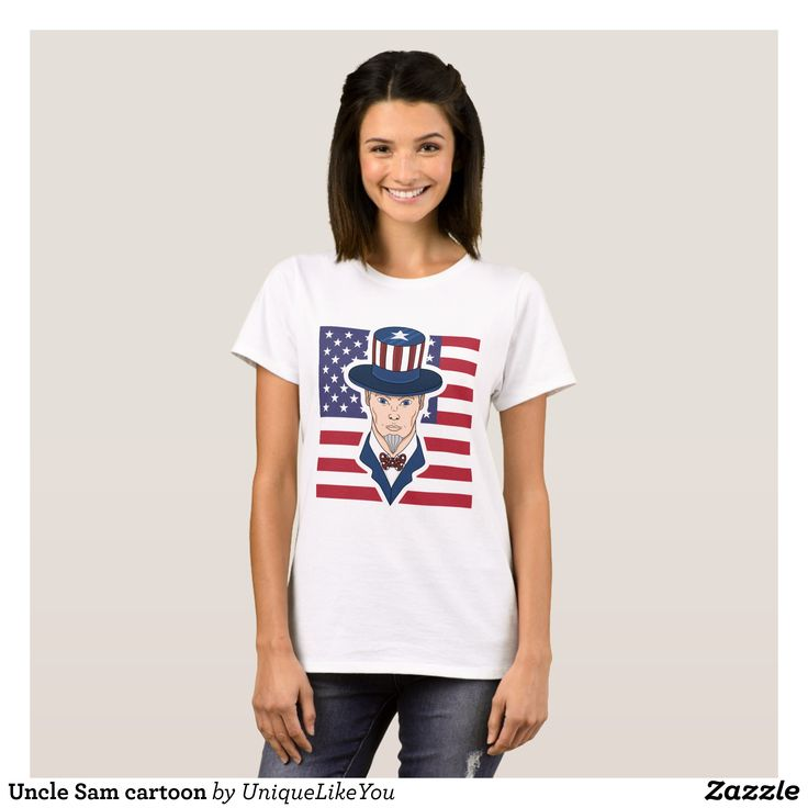 Uncle Sam cartoon T-Shirt - Fashionable Women's Shirts By Creative Talented Graphic Designers - #shirts #tshirts #fashion #apparel #clothes #clothing #design #designer #fashiondesigner #style #trends #bargain #sale #shopping - Comfy casual and loose fitting long-sleeve heavyweight shirt is stylish and warm addition to anyone's wardrobe - This design is made from 6.0 oz pre-shrunk 100% cotton it wears well on anyone - The garment is double-needle stitched at the bottom and sleeve hems for…