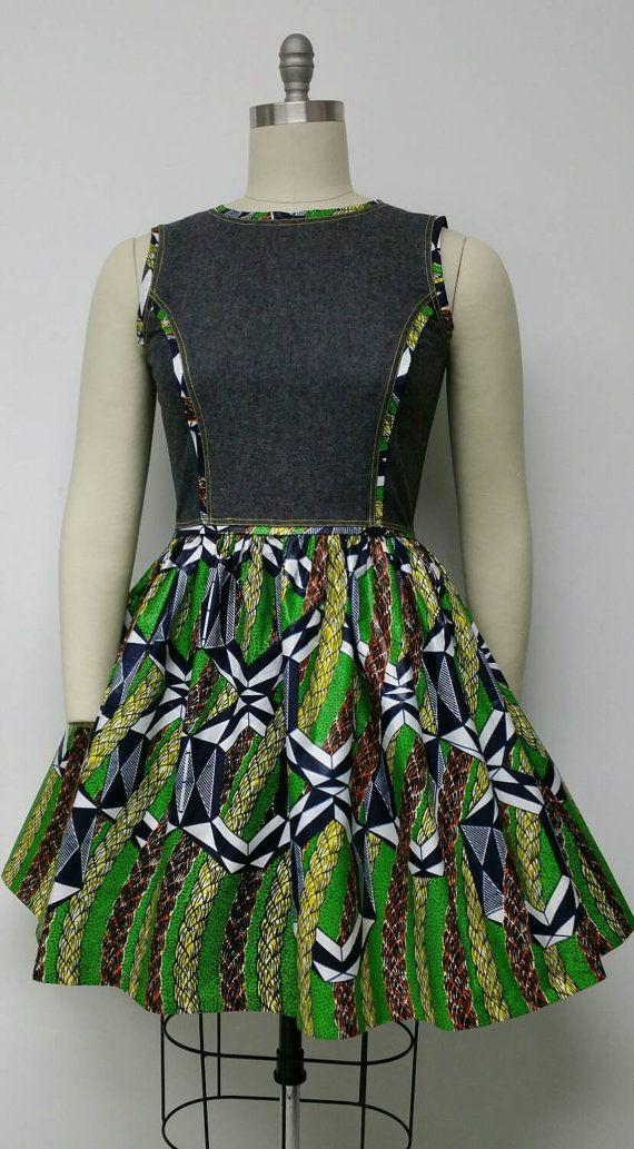 African Print and Denim Sleeveless Dress. Women's by NanayahStudio