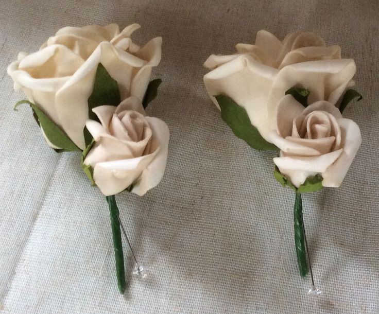 Mocca poly foam roses button holes by Cathey's flowers