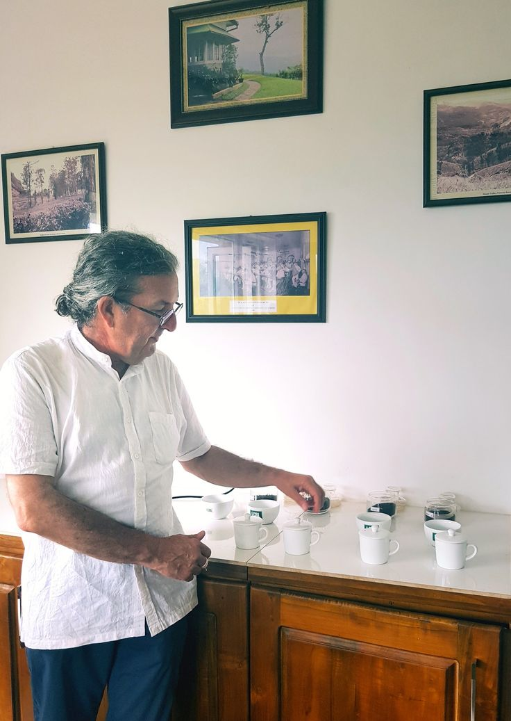 """Director of The Tea Guild of Australia cupping four """"orthodox""""   teas in the high mountains of Sri Lanka."""