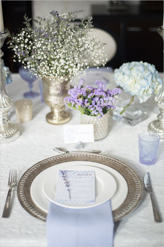 Silver and lavender table scape with fresh florals and baby's breath. #tablescape #tabledecor #weddingchicks Event Design: Blush and Bowties ---> http://www.weddingchicks.com/2014/05/14/blush-bowties/