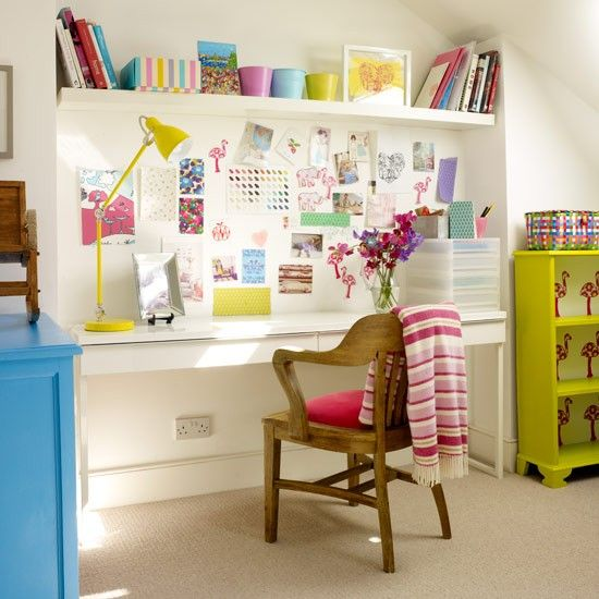 Colourful loft office | Home office ideas | Home office | PHOTO GALLERY | Style at Home | Housetohome.co.uk