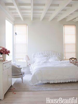 All white bedroom. Design: Amy Neunsinger. housebeautiful.com. #white #bedroom #shabby_chic #ethereal #calm