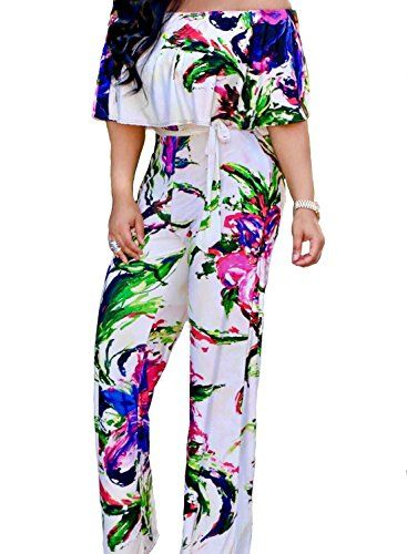 830d2b8f57 Funy Decor Women s Off Shoulder Ruffle Floral Printed Strapless High Waist  Wide Leg Jumpsuits Rompers