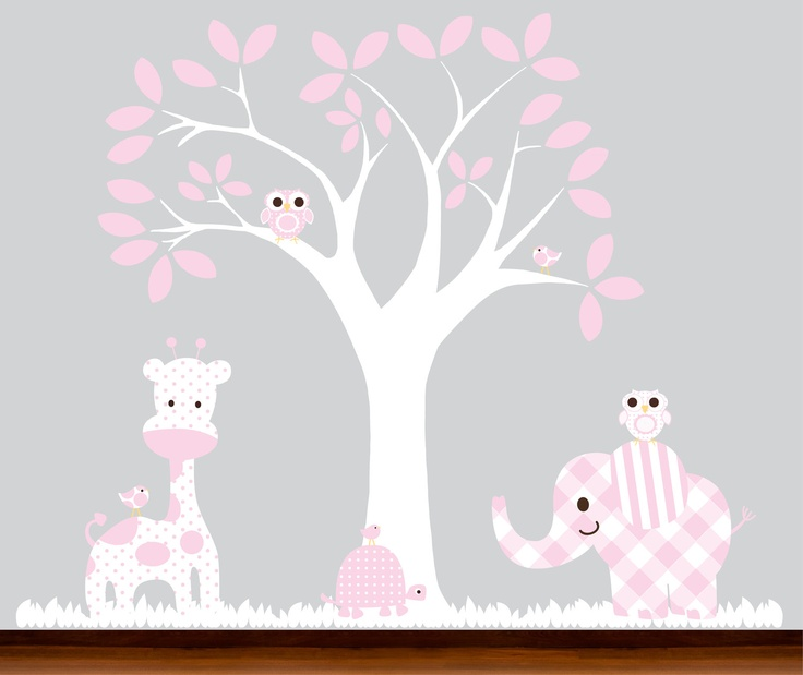 Pink Baby Childrens Nursery Wall Tree Decal Decal Vinyl