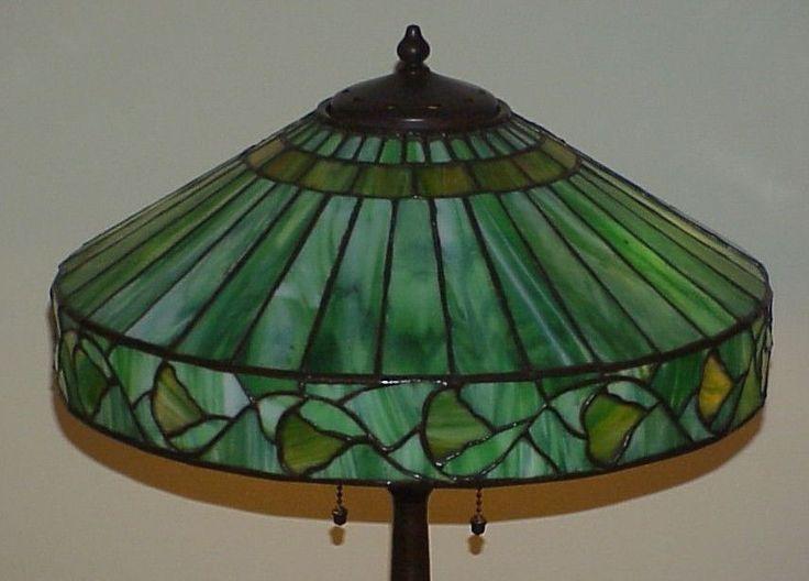 Antique old handel arts crafts leaded slag glass tiffany era table lamp nr