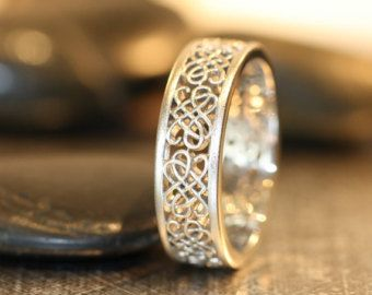 Celtic Wedding Ring 14k White Gold Unique Mens Wedding Band Recycled Gold Celtic Knot Ring Love Knot Ring (Other Metals Available)