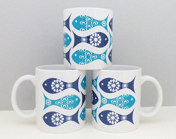 Beautiful Fish Mug, Vintage Fish Mug, Mid Century Mug, Fatheru0027s Day Gift, Beach Hut  Gift, Beach Hut Decor, Retro Mug, Retro Gift, Blue Kitchenware