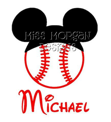 Personalized Baseball Mickey Mouse Disney iron on decal for shirt