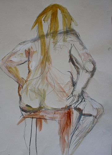 Seated Dolly. Ink, Acrylic, Pencil on Cartridge. 70 X 90