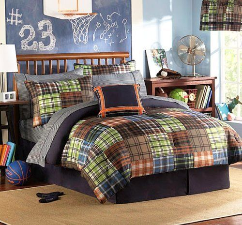 Brown blue orange green plaids and stripes teen boys for Boys full size bed