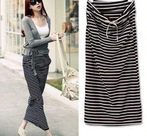 2015 NEW Spring Fashion Women's Black And White Stripe Long Skirts Ankle Length Cotton Bust Skirt Slim Hip Skirt