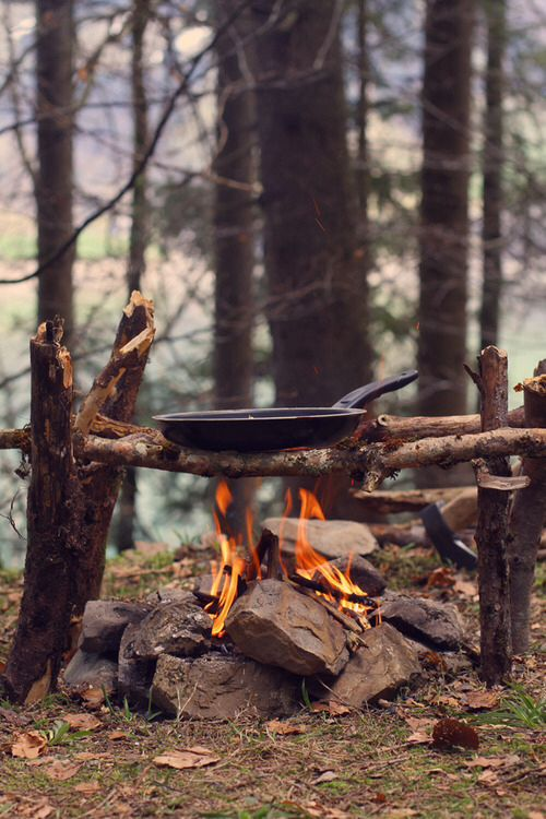 Creating some kind of stand will make life so much easier when trying to cook on a campfire!