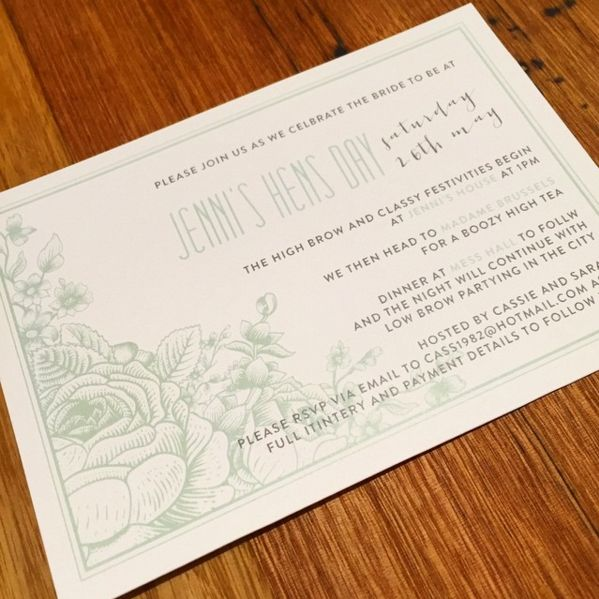This beautifully soft yet stylish floral invite is one of our current favourites! Who can go past a mint floral? www.thepaperempire.com.au