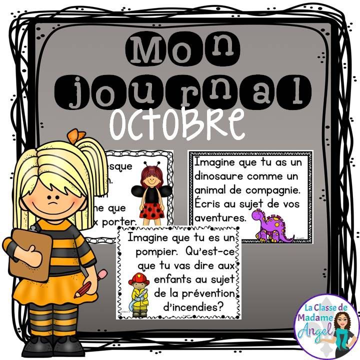 Mon journal d'octobre!  Bon pour l'écriture.  French journal writing prompts for the month of October!