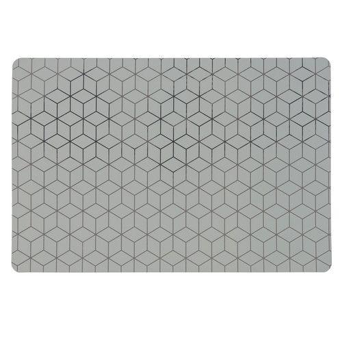 GRAPHIQUE - Mantel individual de plástico gris con estampado dorado