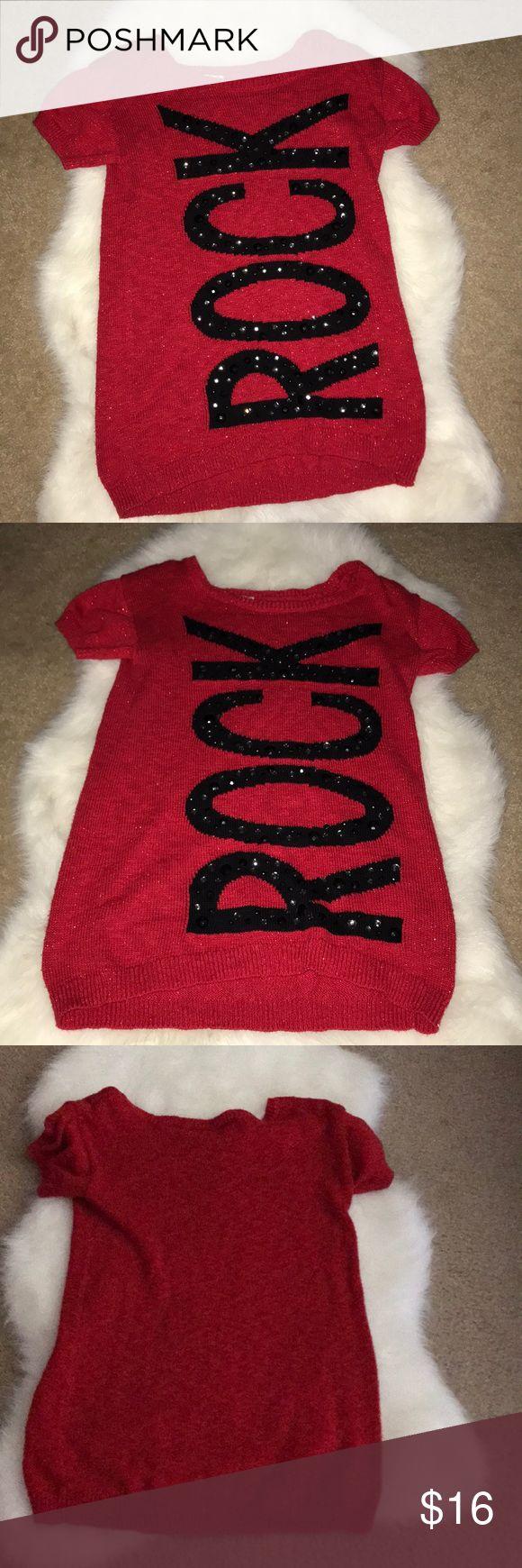 Super cute Justice Red ROCK sweater Super cute Justice Red ROCK sweater Justice Shirts & Tops Sweaters