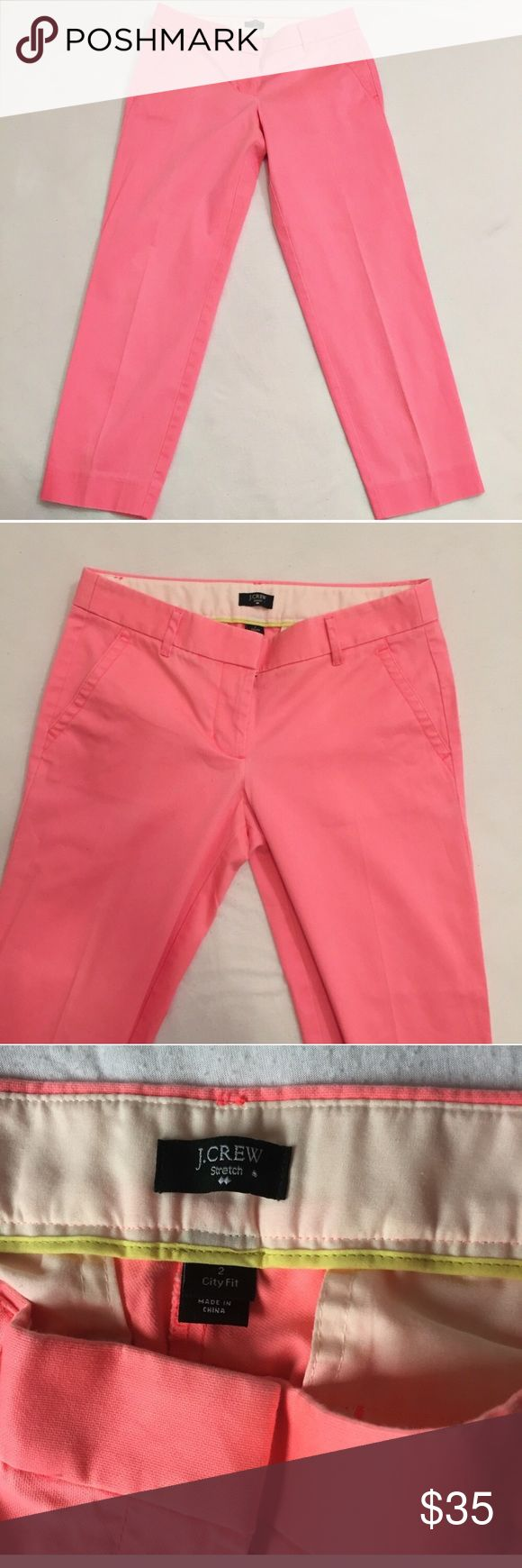 J. Crew City Fit Neon Pink Pant J.Crew neon watermelon pink pants. These are the city fit stretch pants. Gently used condition. Selling for my roommate ~ J. Crew Pants Trousers