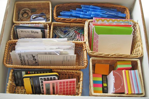 Organizing Drawers and More With Baskets.. Junk drawers and my office desk drawers