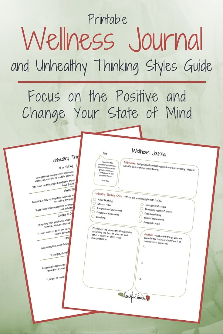 I've created a printable Wellness Journal & Unhealthy Thinking Styles Guide to help you focus on the positive & change your state of mind with self-care.