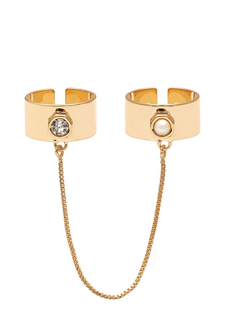 Maria Francesca Pepe Two rings set with pearl, swarovski and chain Shop now>https://www.mariafrancescapepe.com/showplarge.aspx?prodid=803&catid=47&utm_source=Social&utm_medium=Pinterest&utm_campaign=Fw14_tworingset_%20chain