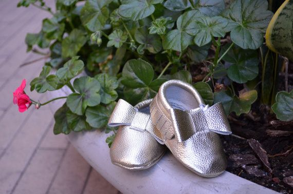 Baby Bow Leather Moccasins Gold Beauty