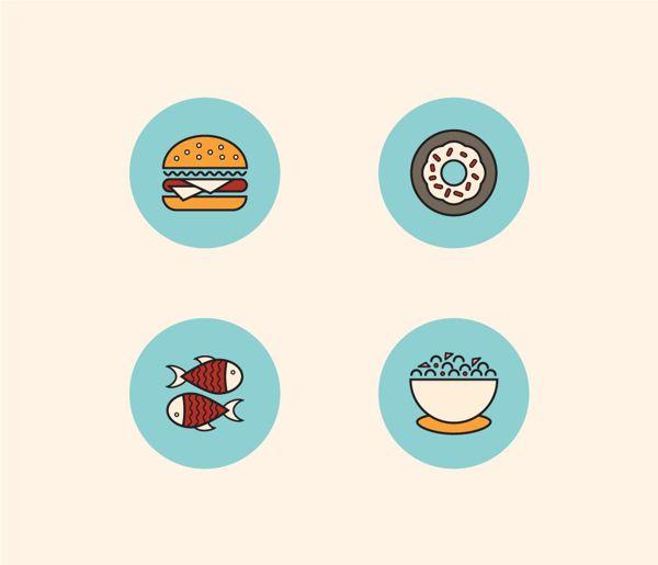 Food Icons by Sanja Veljanoska, via Behance
