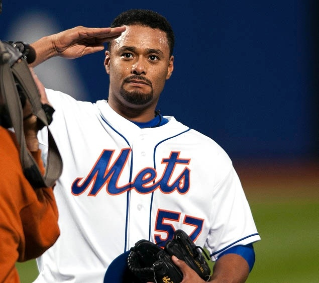 Johan Santana salutes the crowd after throwing the first no-hitter in Mets history. 6/1/2012