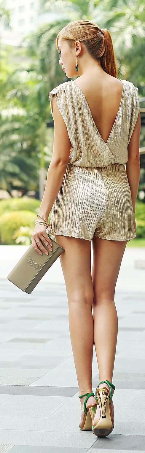 Omg Fashion Gold Metallic Loose Plunge Playsuit by Camille Tries To Blog