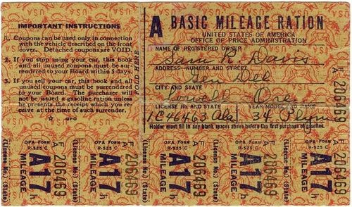 Class A Basic mileage ration stamps for 1934 Plymouth, ca. 1942