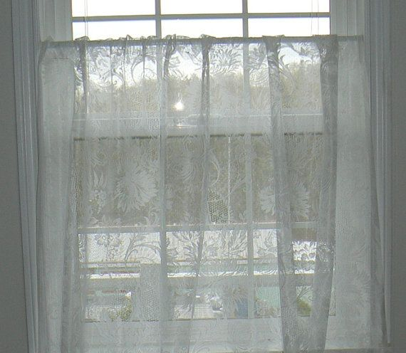 Sheer Custom White Country Curtains, Lace Curtain, Country Chic, Cottage Curtain, Sunflower