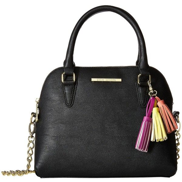 Steve Madden BHelena Dome Satchel (Black/Yellow/Coral/Fuchsia Tassels)... ($40) ❤ liked on Polyvore featuring bags, handbags, black, steve madden purses, yellow purse, handle satchel, steve madden handbags and coral purse