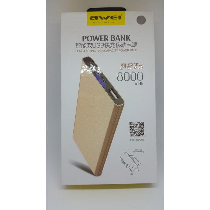 Портативный аккумуляторAwei Power Bank p87k 8000mA в интернет магазине внешних аккумуляторов с бесплатной доставкой по Москве, или России при заказе на сумму от 3000 рублей.
