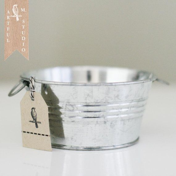 Galvanized Round Tin Bucket Tub Pot Pail by ArtfulMstudio on Etsy, $3.99