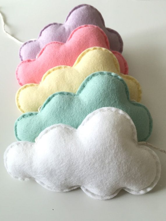 Cloud Bunting, Felt Cloud Garland, Girls Nursery Decoration, Pastel Baby Girl, Cloud Theme Nursery, Baby Shower Gift, New Baby Gift, pastel