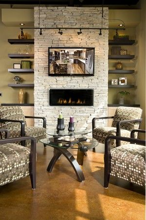Contemporary fireplace with stone and Cosmo fireplace