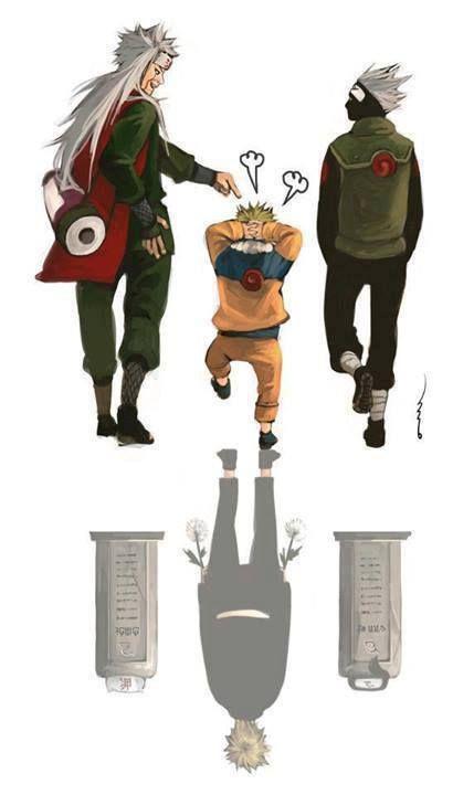 Jiraiya, Naruto, and Kakashi | This literally broke my heart and made me start to sob.