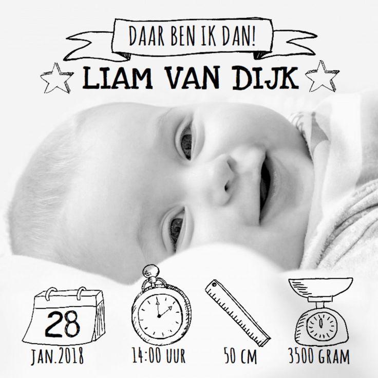Een stoer geboortekaartje met foto en symbolen die je zelf kunt verschuiven of van formaat veranderen. De wijzers van het klokje kun je verplaatsen.