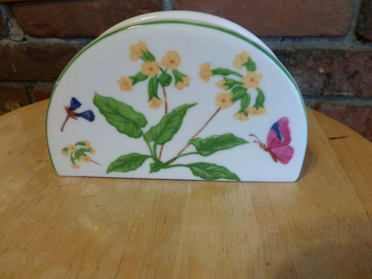 Butterflies by Trisa Porcelain Napkin Holder, Spring Napkin holder, Farmhouse decor by Morethebuckles on Etsy